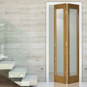 Gentil Internal Oak Bifold Doors With Glass