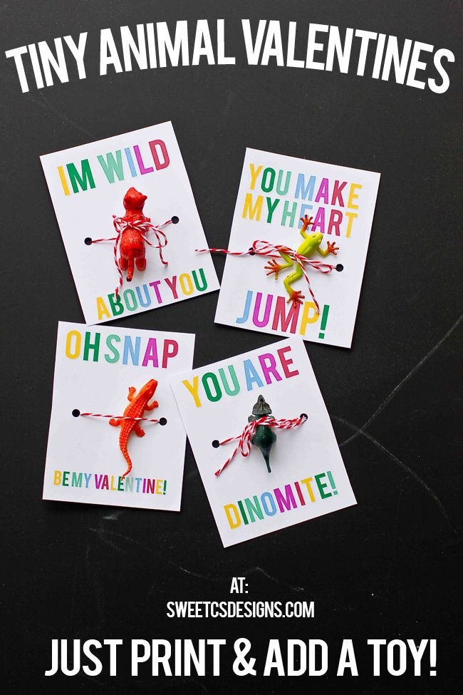 Tiny Animal Valentines- just print and add a toy to these adorable non candy valentine treats that are perfect for little boys!