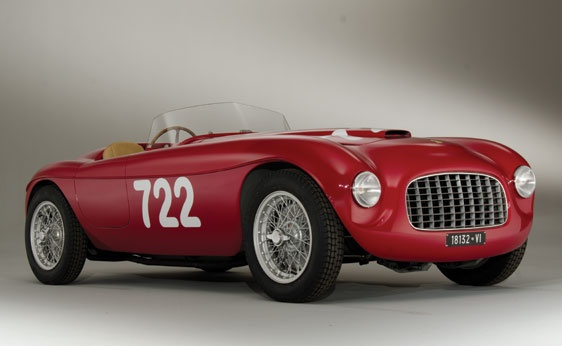 1948 red Ferrari 166 Inter Spyder Corsa.  This car boasts extraordinary and extensive period race history, first with Scuderia Ferrari and later with Scuderia Marzotto, for whom it was rebodied in 1950 in the Barchetta style by Carrozzeria Fontana.