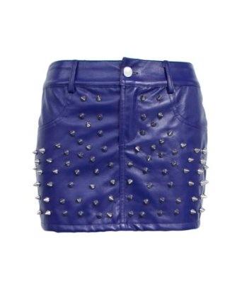 blue studed skirt