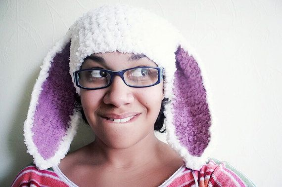 Adult Size White Bunny Ears Hat With Plum Inner Ears. Handmade with love by Babamoon :)