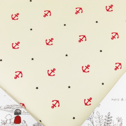 FQ - NAUTICAL RED ANCHOR & STAR on CREAM 100% COTTON FABRIC DRESS QUILTING #K152 | eBay