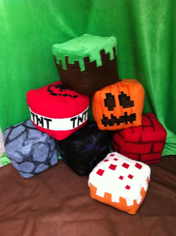 Minecraft-inspired cube plushes, cute for Aidan maybe for his birthday