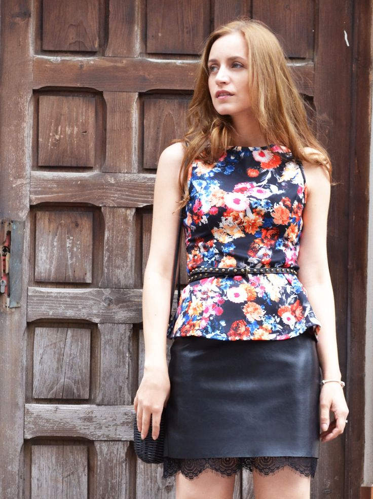 rock-chic fashion, rock-chic outfit, peplum top, floral trend