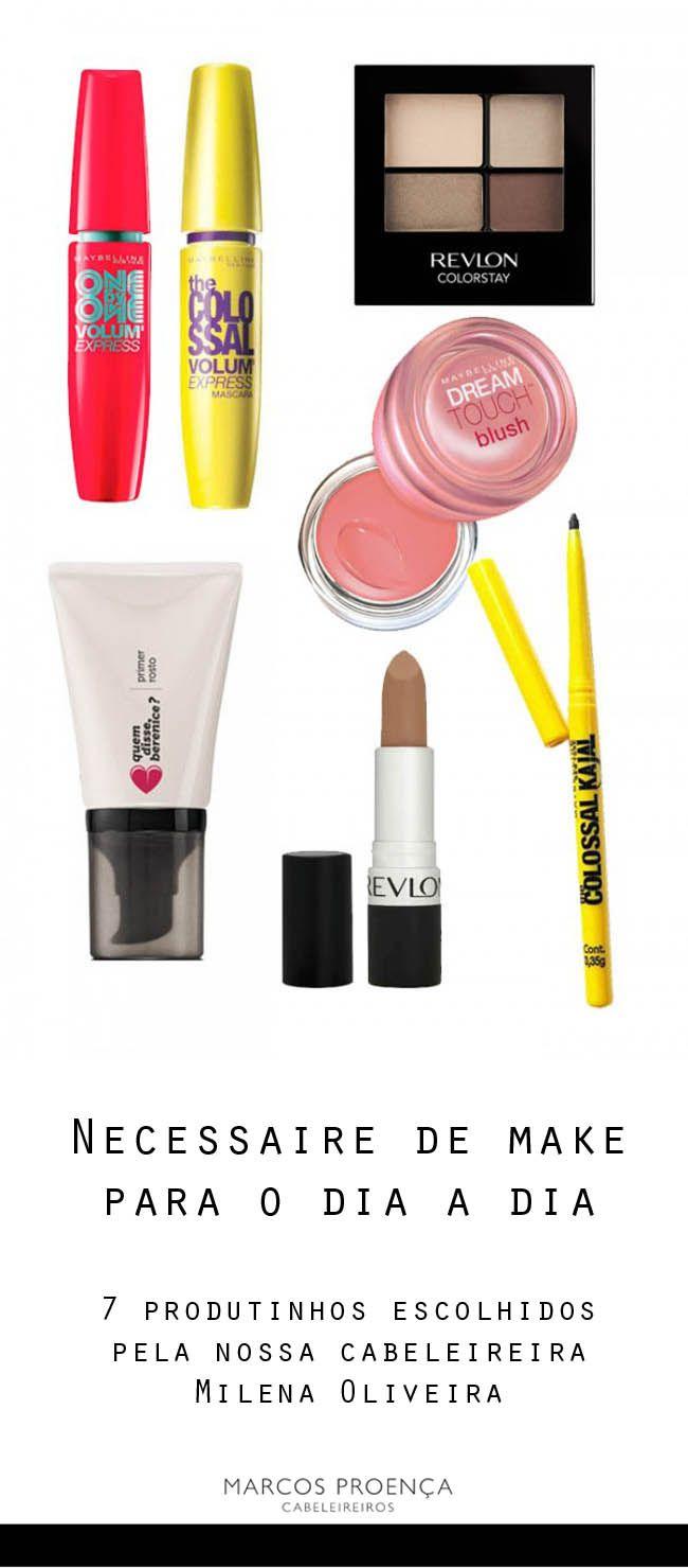 7 produtos de maquiagem básicos para o dia a dia da nossa cabeleireira Milena Oliveira.