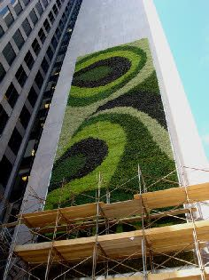 The largest living green wall in North America. Building for growing vertical walls will not only provide cleaner air in the cities. It might be used for edibel stuff or just to help ecological systems to survive in cities. To grow stuff on the walls or on roofs need appropiate construction technics and materials!