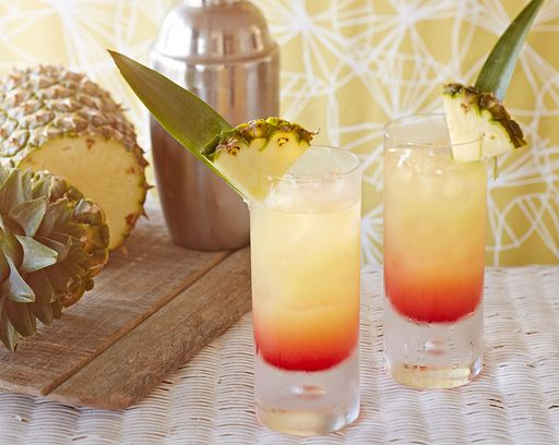 The prettiest, most refreshing Caribbean vodka cocktail, with layers of orange-pink grenadine, and golden yellow pineapple. It will transport you to a tropical paradise.