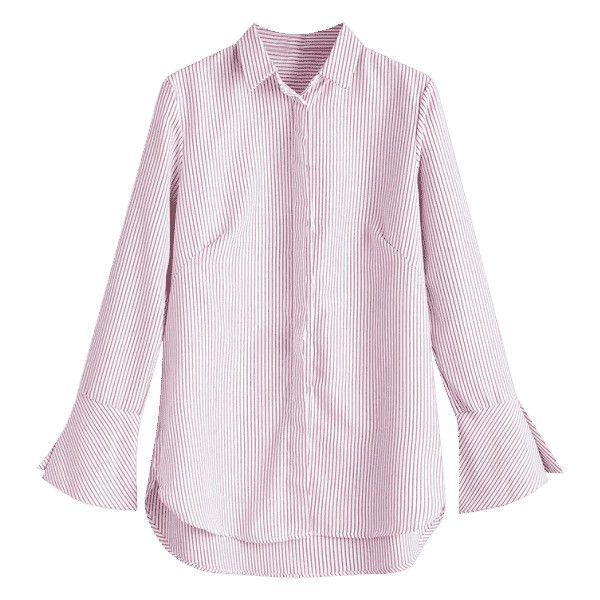 Flare Sleeve High Low Stripes Shirt ($21) ❤ liked on Polyvore featuring tops, blouses, zaful, pink shirt, stripe blouse, pink blouse, striped blouse and pink striped blouse