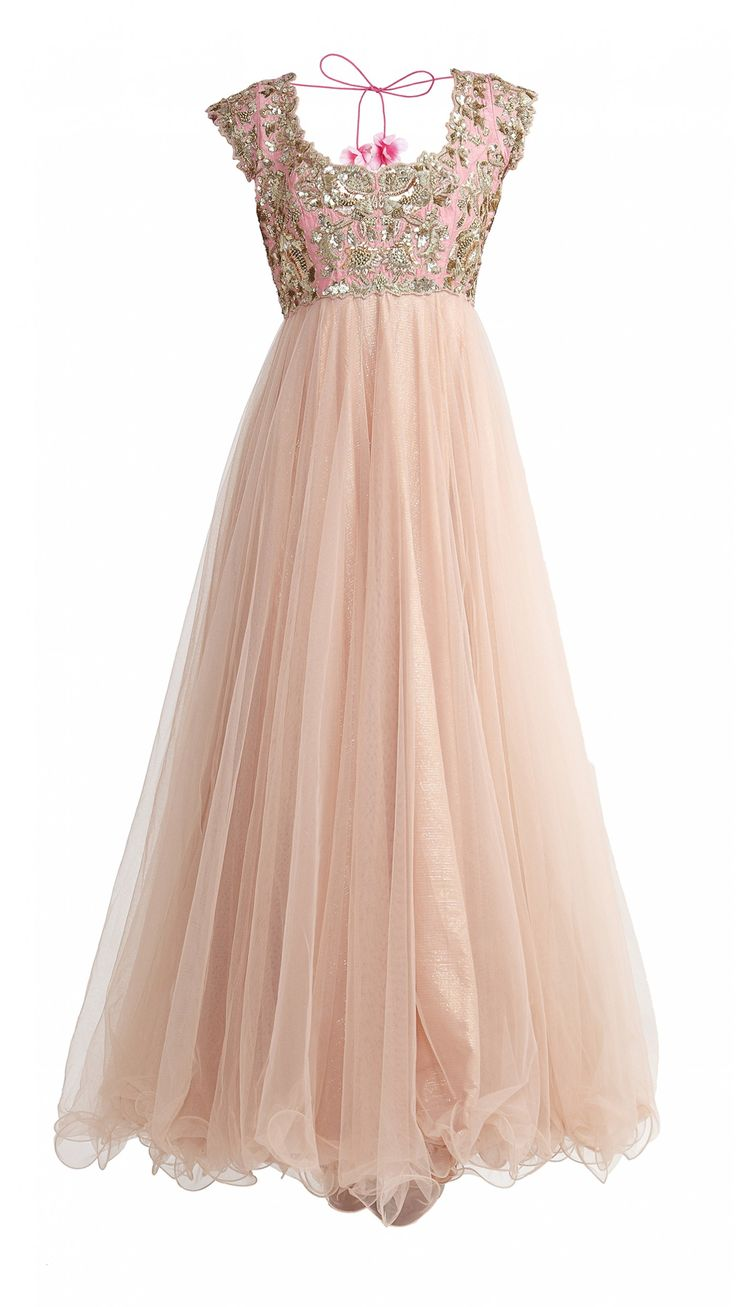 Nude and Pink Net Anarkali