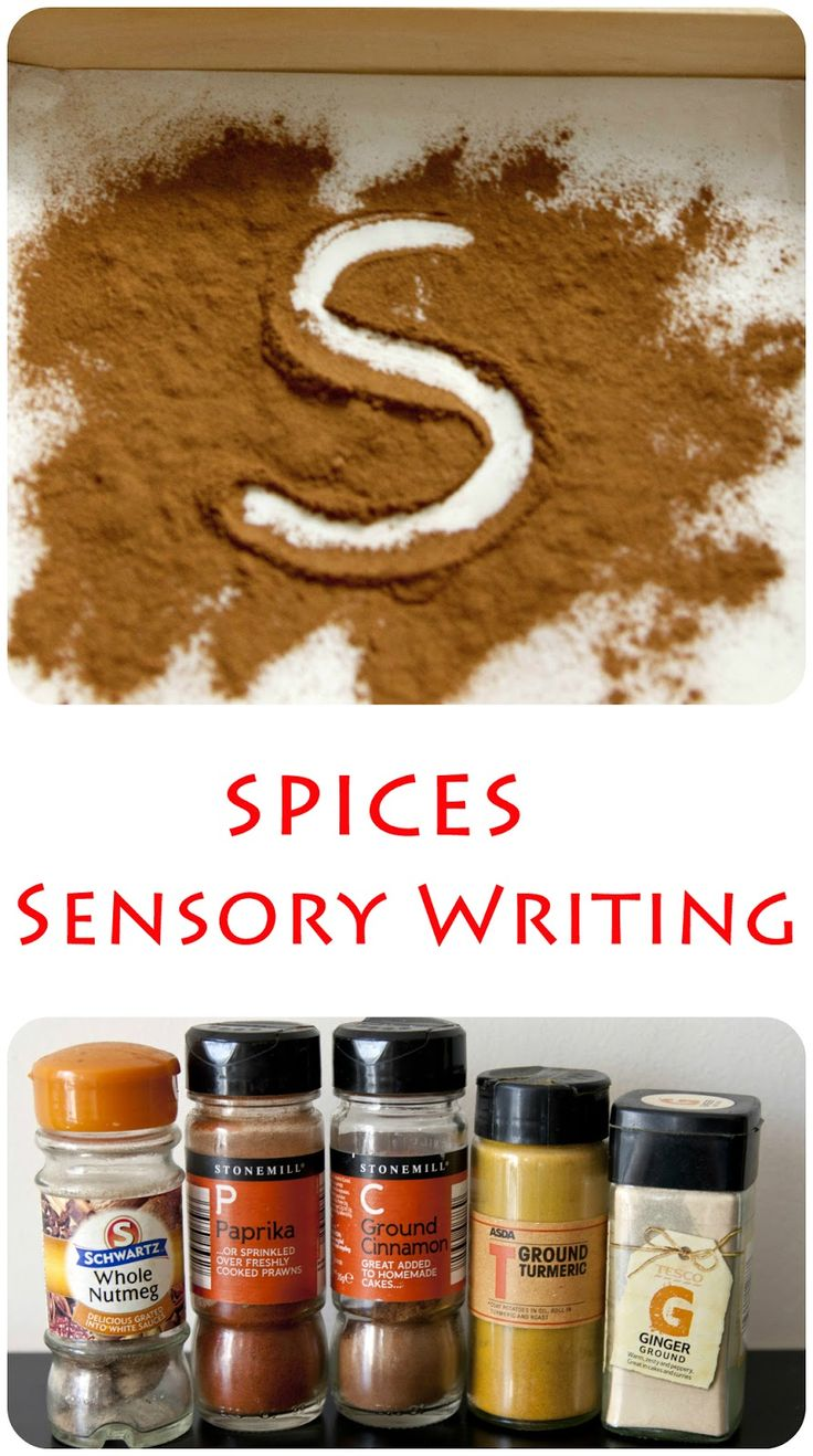 Spices sensory writing tray.