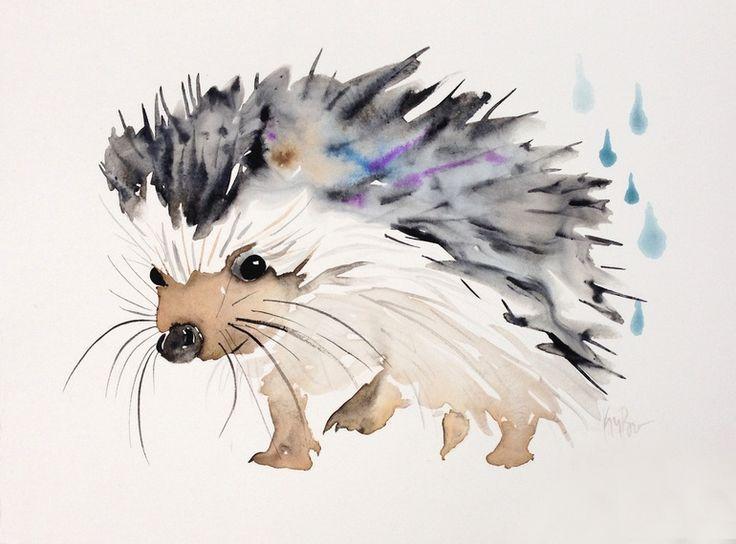 Happy hedgehog, Watercolor painting by Kristina Brozicevic   Artfinder