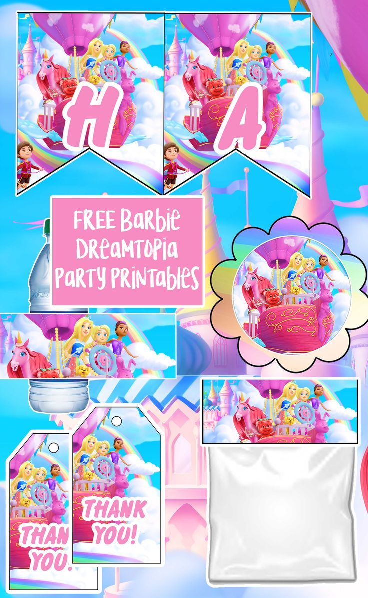 Free Barbie Dreamtopia Birthday Party Printable Files Banners Invitations Birthday Banner Free Printable Barbie Invitations Birthday Party Printables Free