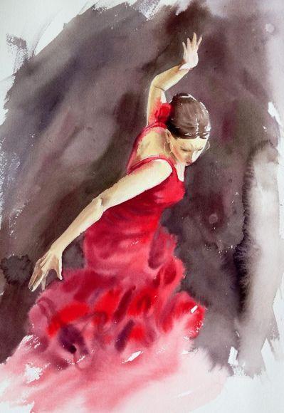 Танцовщица фламенко в красном платье - испанский Танцор фламенко - страстный танец