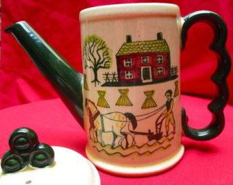 Metlox Poppytrail Homestead Farmhouse teapot small coffeepot Vintage folk pottery farm motif farmstead retro kitchen serving Amish farming - Edit Listing - Etsy