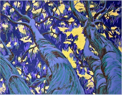 Fernando Reyes. Scape Above: Towering. Color woodcut.