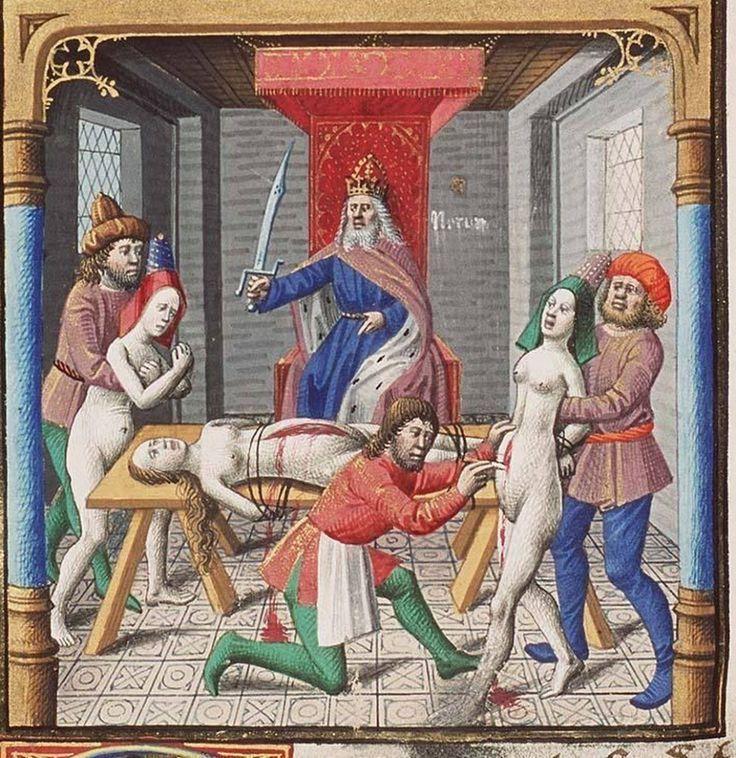 """""""Nerone fa aprire la pancia della madre Agrippina"""", miniatura tratta da 'La Città di Dio' - codice MMW 10 A 11 (1475-1480), Koninklijke Bibliotheek, L'Aia."""