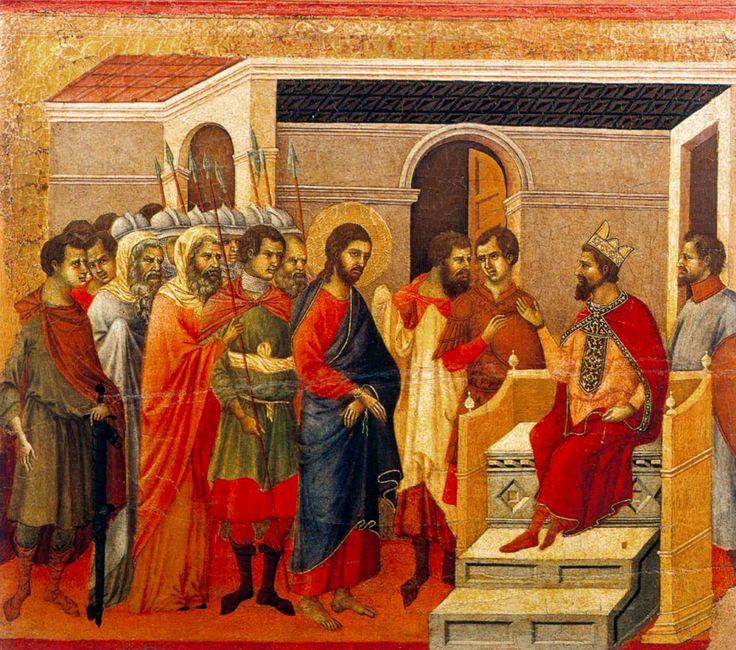 """""""Christ Before King Herod"""". [Detail of the Maestà Altarpiece] -- Circa 1308-11 -- Duccio di Buoninsegna -- Italian -- Tempera & gold on panel -- Museo dell'Opera del Duomo, Siena, Italy."""