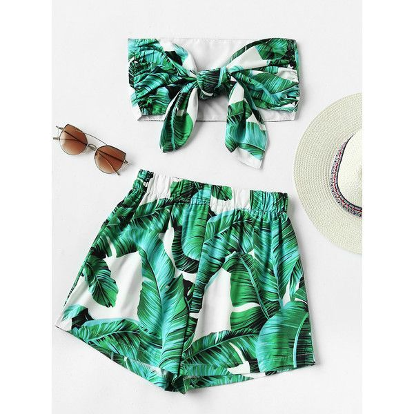 SheIn(sheinside) Leaf Print Random Bow Tie Crop Bandeau Top With... ($17) ❤ liked on Polyvore featuring tops, green, bow crop top, embellished top, green sleeveless top, bandeau tops and sleeveless tops