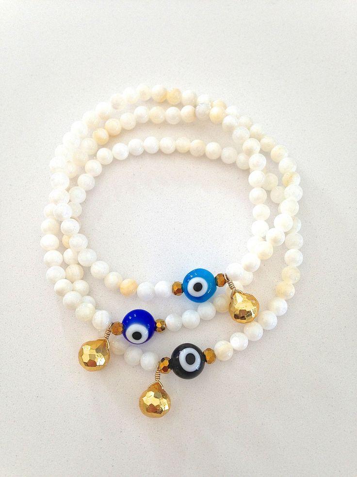 Trinket Bracelet ~ Mother of Pearl Evil Eye