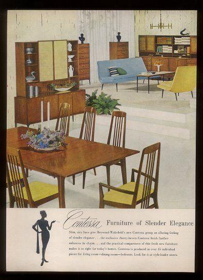 Retro Dining Room Furniture   1959 Heywood Wakefield Danish Modern Contessa  Line