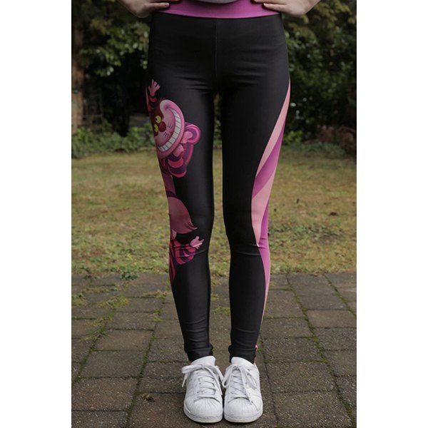 Stylish Color Block Cartoon Printed Elastic Bodycon Yoga Pants For Women, BLACK/ROSE RED, ONE SIZE(FIT SIZE XS TO M) in Pants & Leggings | DressLily.com