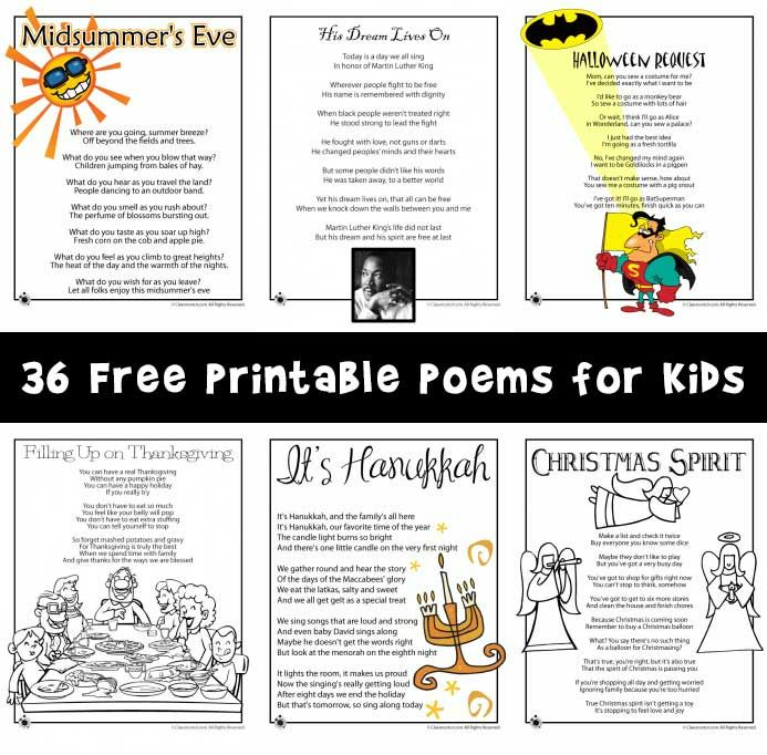Over 35 kids poems that are printable and short in length - great for reading practice for 1st grade through 4th grade.
