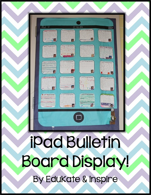 iPad Bulletin Board display {free}!  Plus, follow the Technology Blog Hop to score 15 more tech-related freebies!!!