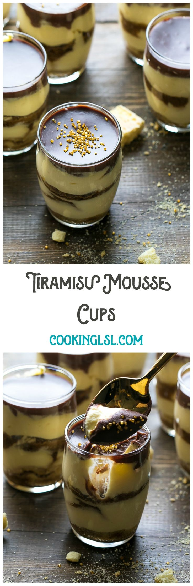Easy Tiramisu Mousse Cups. Dessert in a cup, with chocolate ganache. Contains raw eggs.