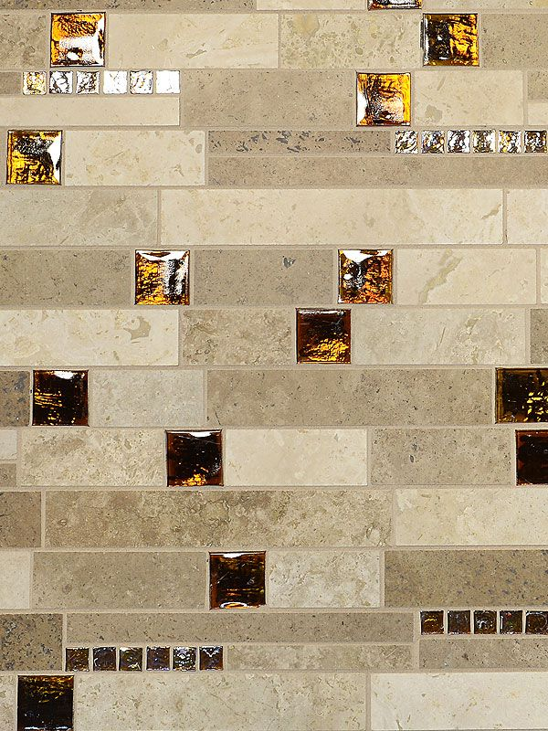 Light Dark And Medium Color Travertine Tiles Mixed With Brown Glass Insert Unique Brown Glass Travertine Mix Backsplash Tile For Traditional Kitchen