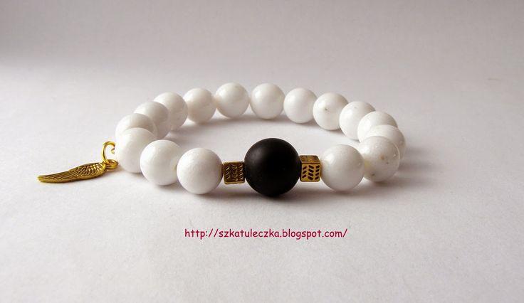 Biały mleczny jadeit z czarnym black stone :) cudeńko :)