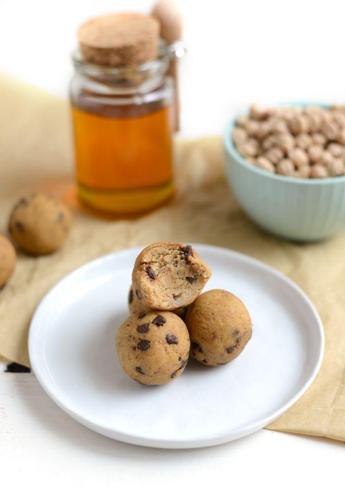 Peanut Butter Chickpea Energy Balls Hint oat flower vanilla chocolate chips salt…