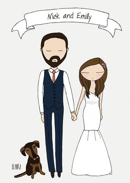 Custom wedding illustration - digital file you can use on your invitations or save the date cards