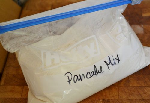 Homemade Pancake Mix: Mix or shake together 8 cups flour (try going for a combination of all-purpose and whole grains, such as whole wheat flour, oat flour, quinoa flour or buckwheat flour), 3 Tbsp. baking powder, 2 Tbsp. sugar and 1 tsp. salt. To use, mix a ratio of 1 cup pancake mix to 1 egg, 1 cup of milk and 1 Tbsp. oil – increase quantities to make a bigger batch.