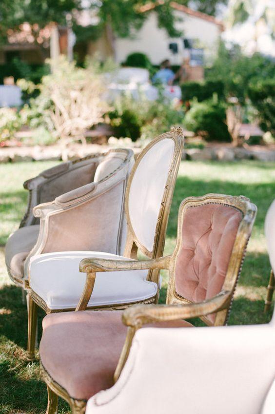 Vintage pink velvety furniture.