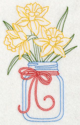 Blooming Daffodils in Mason Jar (Vintage) design (L9389) from www.Emblibrary.com