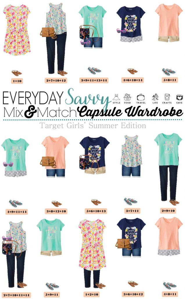 We have had multiple requests for a new mix and match outfit board for girls with summer cute girl outfits. Having outfits that mix and match can help with the what to wear headaches. These outfits are so fun and frugal too! You daughter can look put together in no time without breaking the bank. We have some great florals and fun graphic tees. We even included two cute bags and sunglasses.