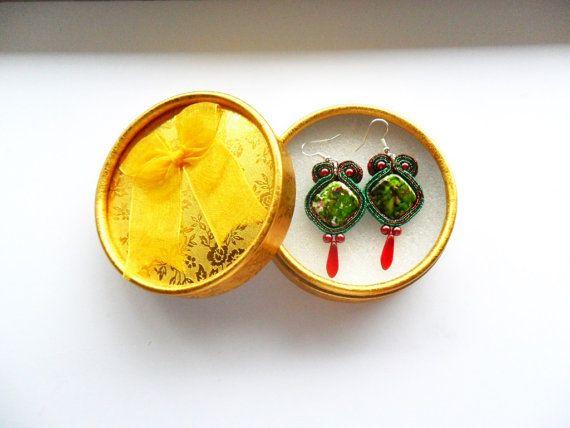 earrings / soutache technique / handmade nr194 by Kokonek on Etsy