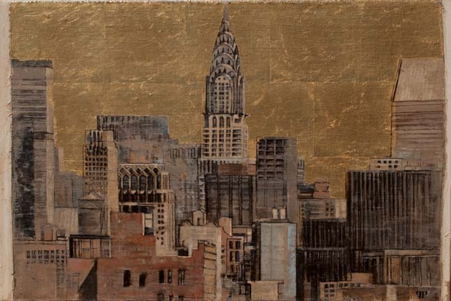 "Patrick Pietropoli, New York in Gold I, 2013, Oil & Gold on Linen, 20"" x 30"" #art #nyc #axelle"