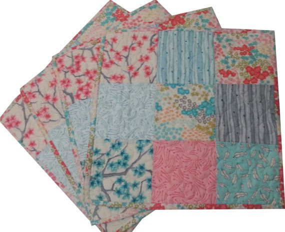 Quilted Patchwork Placemats in Asian Prints by Sieberdesigns