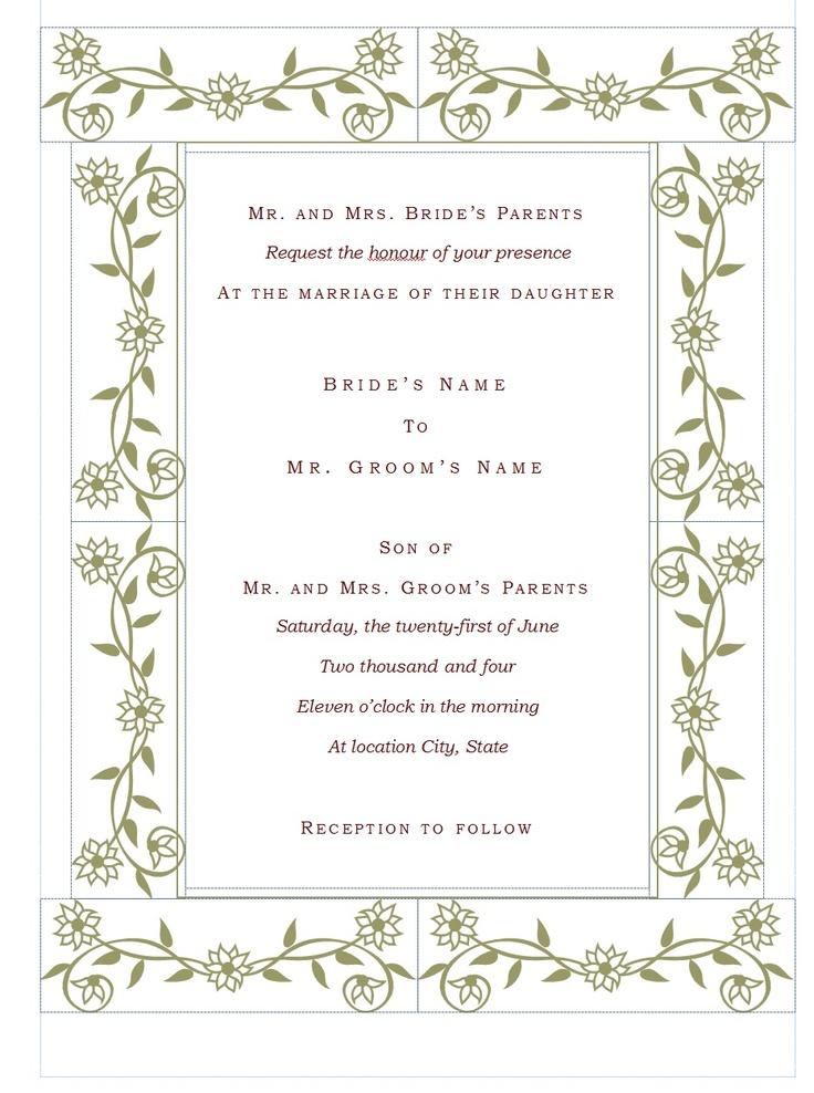 Wedding invitation template invitations pinterest for Pinterest invitation