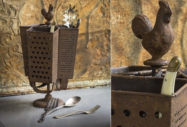 Metal Utensil Holder   Rustic Utensil Holder DIY?? think this is possible.. just need to get creative