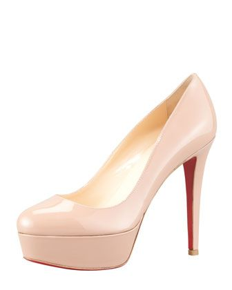 Bianca Almond-Toe Platform Red Sole Pump, Nude by Christian Louboutin at Neiman Marcus.