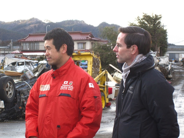 NYCM Board Member, Dr. Robert Bristow, in the field with our partners during Japan earthquake relief efforts