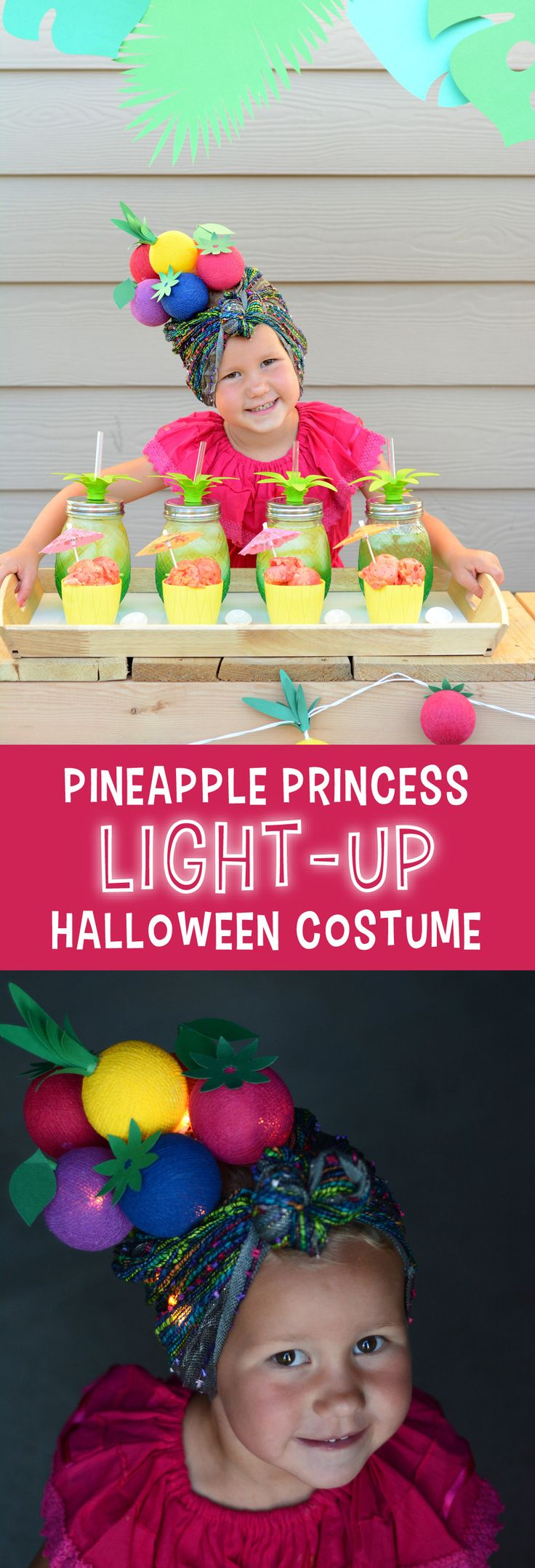 DIY Pineapple Princess Light Up Halloween Costume | A simple, pineapple princess light-up halloween costume that will help you see your little trick-or-treater on Halloween night.