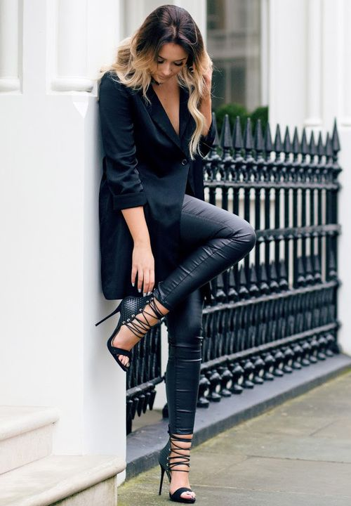 In leather leggings and an oversized blazer, Sarah Ashcroft is bringing a  new kind of sex appeal to the all black trend! Punky stilettos such as this  Simmi ...