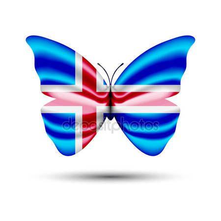 Butterfly flag iceland — Stock Vector © jackreznor #141726640