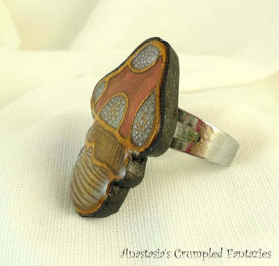 Red white gold mushroom  ring Polymer clay by CrumpledFantazies