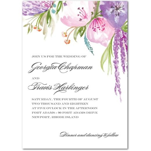 Cascading Blossoms - Signature White Wedding Invitations - Mindy Weiss - Begonia - Pink : Front