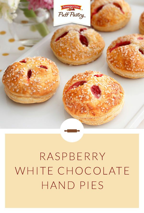 """""""Pepperidge Farm Puff Pastry Red Raspberry & White Chocolate Cream Hand Pies Recipe. These little pies are so pretty and you'll love that they fit right in the palm of your hand. Puff Pastry and a delectable filling make these hand pies irresistible. Each bite features fresh raspberries in a white chocolate cream, wrapped in flaky Puff Pastry...they're simply divine!"""