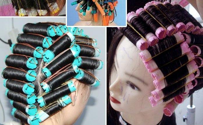 2 sacs (16-20 pcs)/lot Perm Froid Tige Cheveux Bigoudis Rouleaux Plastiques Creux Core Flexi tige Outils De Coiffure bigoudis magique bigoudi